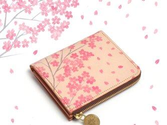 Lウォレット L字ファスナー 財布(サクラ)牛革 オールレザー 花柄 レディース  ILL-1157の画像