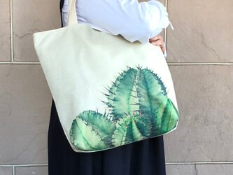 綿麻大きめトート サボテン 受注製作の画像