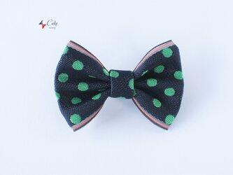 【ユニセックス】畳のへりde蝶ネクタイ(緑水玉)の画像