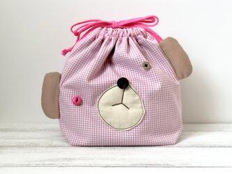 受注制作☆おとぼけクマのお弁当袋【pink】の画像