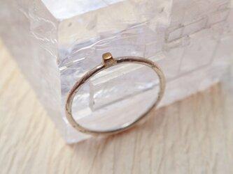 金一粒リング(シルバー+真鍮キューブ)の画像