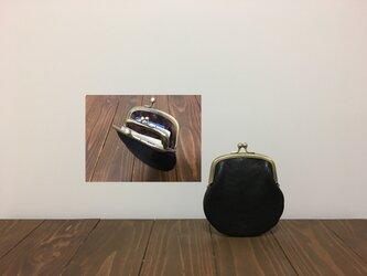 上質牛革 mini親子がま口財布◆黒 丸型の画像