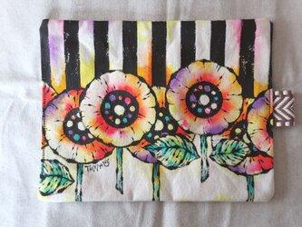 帆布 手描きのおやつマット(花柄×ストライプ) 06の画像