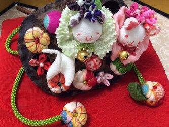 ♪猫の蓮の実ひな飾りの画像