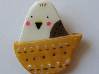 小鳥 カップ 粘土ブローチの画像