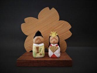 雛人形 【屋久杉衝立ミニ雛】の画像