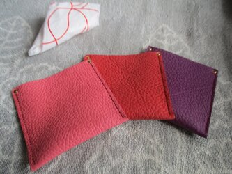 エコで注目【色選べるピンク系トリヨン】革のミニケース(レジ袋入れ)の画像