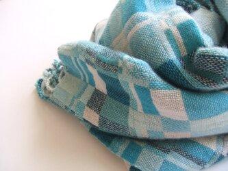 手織りカシミアストール・・アイスブルーの画像
