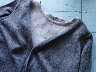 リネンシャツ型襟無し付け襟(アイスグレー)の画像