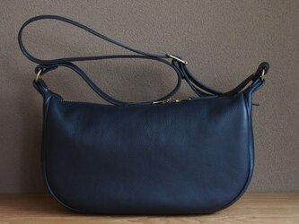 fastener shoulder bag small(navy) - ファスナーショルダーバッグ小(ネイビー)の画像