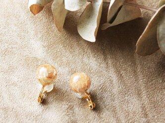 ドライフラワーの花珠イヤリング【c】の画像