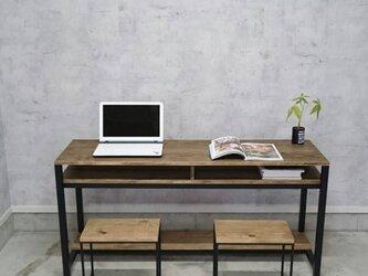 鉄と木のロングデスク ワークデスク 学習机の画像