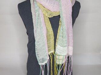 手織り コットンマフラー B0125bの画像