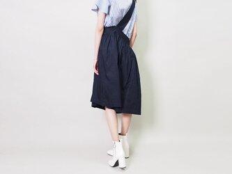 麻100 ワンショルダー スカート紺の画像