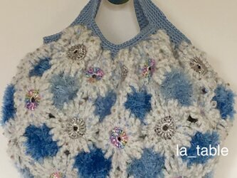 Fさまご予約品 花たくさんのバッグ「BLUE&WHITE FANTASIA +」の画像