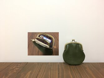 姫路レザー mini親子がま口財布◆カーキ 丸型の画像
