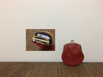 上質牛革 mini親子がま口財布◆赤 丸型の画像