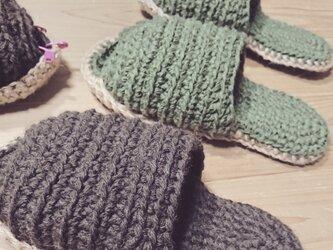 手編み*天然素材の糸で編んだスリッパ☆エコスリッパ☆送料無料の画像