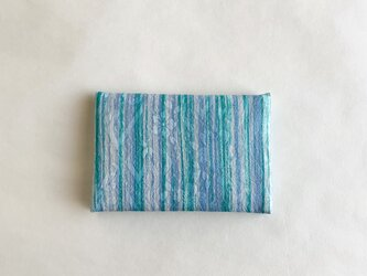 絹手染カード入れ(縦・緑薄青)の画像