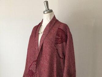 軽い総絞りのロングカーディガン② L 着物リメイクの画像