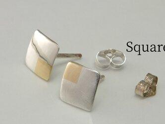 SquareW7+Bs -四角いピアス +真鍮(スタッド)-の画像