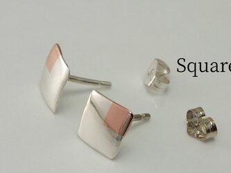 SquareW7+Bs -四角いピアス +銅(スタッド)-の画像