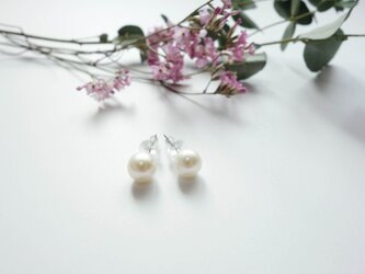 plain pearl pierced earrings  6-6.5mmの画像