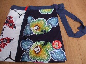 浴衣の見本布で作ったカフェエプロン 木綿の画像