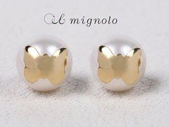 K18モチーフピアス / あこや真珠(蝶)の画像