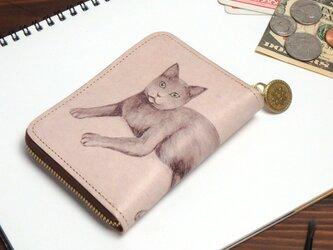 ラウンドファスナー コンパクト財布(ロシアンブルー)牛革  レディース ILL-1145の画像