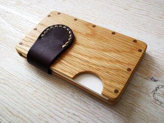 a card case ホワイトオーク×パープル 木と革の名刺入れの画像