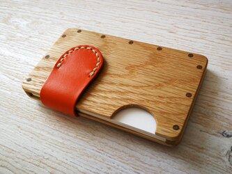 a card case ホワイトオーク×オレンジ 木と革の名刺入れの画像