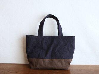 チャコールグレー×コーヒー 浜松産帆布使用トートS【受注製作】の画像