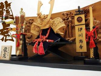 五月人形 木彫り兜「ひのき木彫り兜 龍虎 6点セット(兜,兜台,弓・太刀,こいのぼり大,幟大,衝立)」の画像