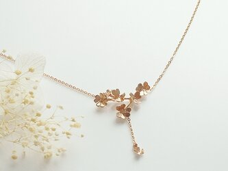 クローバー畑のネックレスA  (pink gold)の画像