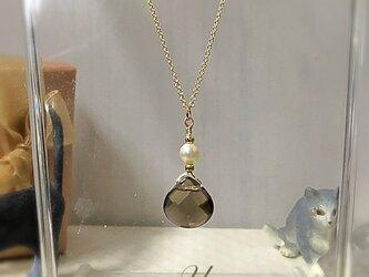 スモーキークォーツの一粒ネックレスの画像