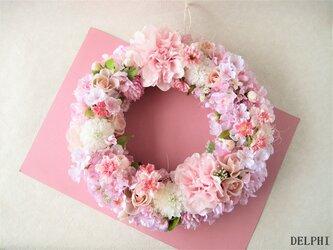 華やか桜色のリース【アーティフィシャルフラワー】ご結婚祝い 開店祝い 雛祭り ギフトの画像