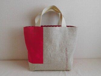 リネン パッチワークバッグ  赤ベージュの画像