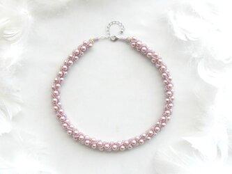 桜のつぼみ: : : ビーズクロッシェネックレス : : : ピンク×パープルの画像