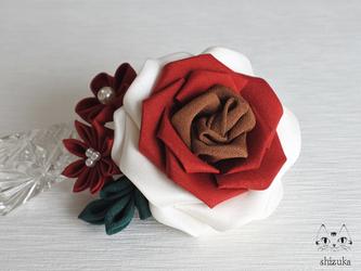 薔薇姫の輝き✡つまみ細工 2wayクリップピンコサージュ ⊰ ニーケー ⊱ 入学式・入園式・結婚式・お呼ばれの画像