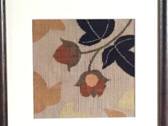 綴れ織り額装・綿花の画像