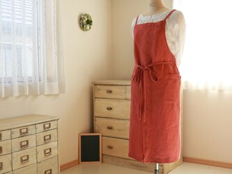 92cm丈バッククロスエプロン/イタリアンリネン(赤土色)の画像