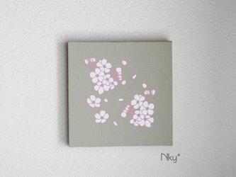 桜のファブリックパネル M-101◆グリーン/白-桃の画像