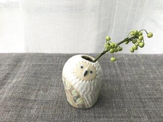 owlvase フクロウの一輪挿し mini 2-02葉っぱ模様の画像