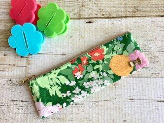 カラフル花柄のリボンペンケース小物入れの画像