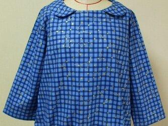 【セール品】星座柄 8分丈袖 裾ゴム入りプルオーバー M~Lサイズ 青ギンガムチェック色の画像
