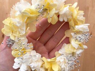 【プリザーブドフラワー/ホワイトレモン色の紫陽花ミニリース】の画像