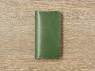 牛革 iPhone XS Max カバー  ヌメ革  レザーケース  手帳型  グリーンカラーの画像