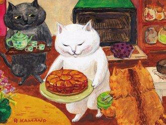 カマノレイコ オリジナル猫ポストカード「タルトタタン」2枚セットの画像