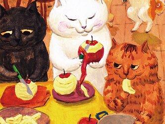 カマノレイコ オリジナル猫ポストカード「タルトタタンの準備」2枚セットの画像